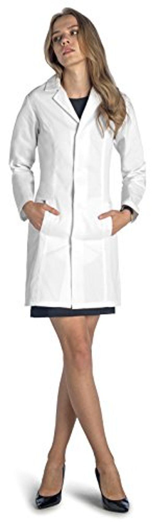 photo Wallpaper of Dr. James-Dr. James Taillierter Slim Fit Laborkittel Für Damen DE 18-Weiß