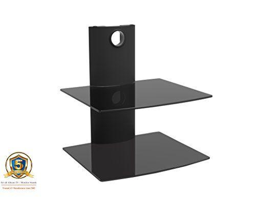 photo Wallpaper of Allcam-Allcam Universal DVD Player/Amplifier/Speaker Wall Mount In Black W/ Two Black Glass Shelfs For-Black