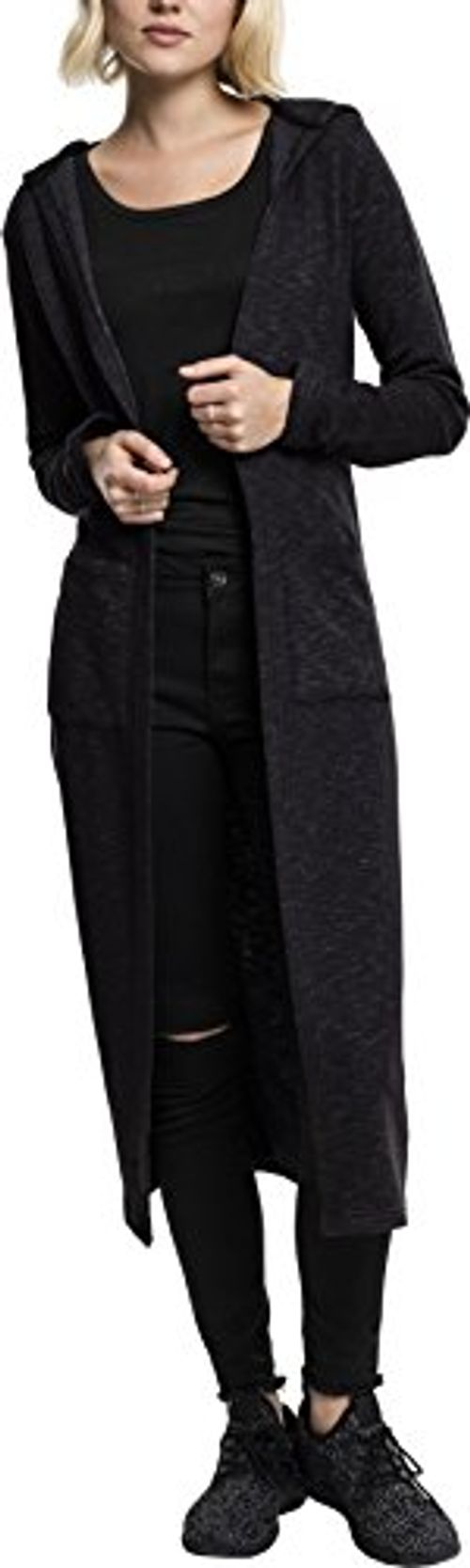 photo Wallpaper of Urban Classics-Urban Classics Damen Strickjacke Ladies Space Dye Hooded Cardigan-Schwarz Meliert