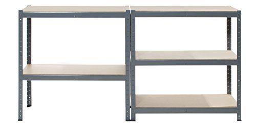 photo Wallpaper of Storage Affairs-Garagen Regaleinheit, 5 Etagen, Extra Robust–90cm Breit, 45cm Tief, 150cm Hoch, 265kg Pro Regal,-Grau