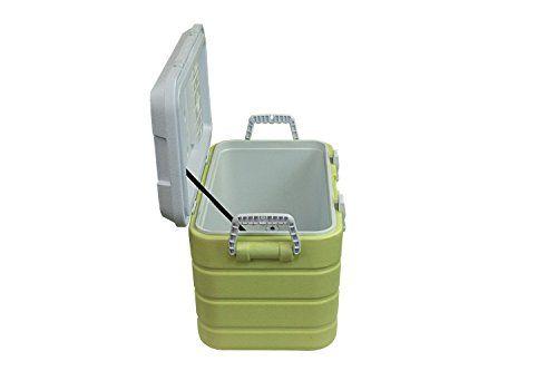 photo Wallpaper of 10T Outdoor Equipment-10T Fridgo 40L Passive Kühlbox Kühlbehälter 63x35x35cm PU Thermobox Mit Sicherheits Verschluß Tragegriffen Boden-grün