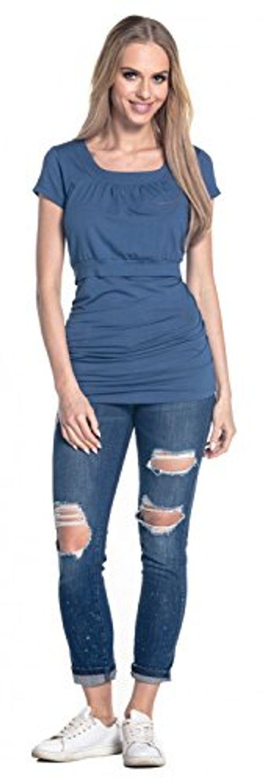 photo Wallpaper of Happy Mama-Happy Mama. Damen Umstands Still T Shirt Lagendesign. Rundhalsausschnitt. 136p (Blau-Blau Jeans