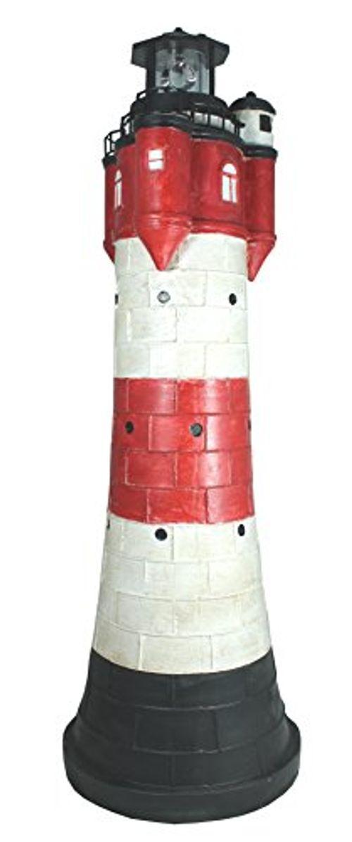 photo Wallpaper of colourliving-Deko Solar Leuchtturm Roter Sand Groß Ca. 80 Cm Rot Weiß Rotierender LED Reflektor-Mehrfarbig