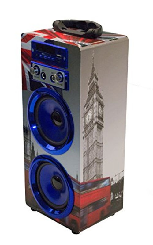 photo Wallpaper of P & B Wholesalers-Bluetooth Lautsprecher Mit Mikrofon / Karaoke Radio USB SD AUX MP3 Player Box-Blau / England