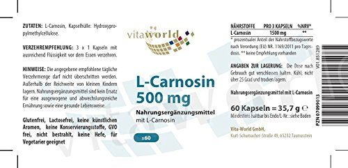 photo Wallpaper of Vita World-L Carnosina 500mg 60 Cápsulas Vegetales   Vita World Farmacia Alemania -