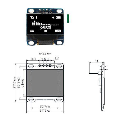 photo Wallpaper of LANMU-LANMU 0,96 Zoll I2C IIC SPI Serial 128x64 Pixel OLED LCD LED Display-weiß
