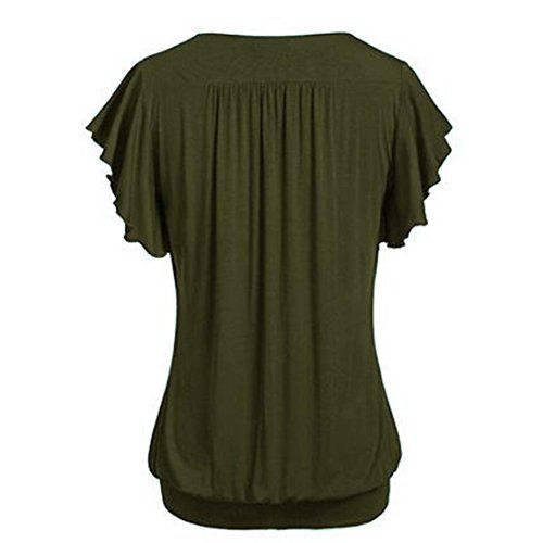 photo Wallpaper of TUDUZ-TUDUZ Oversize Oberteil Damen Loose Fit V Ausschnitt Kurzarm Einfarbig Top Falten Bluse-Armeegrün