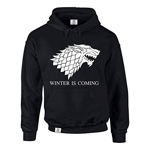 photo Wallpaper of Shirtdepartment-Hoodie Game Of Thrones Winter Is Coming Kapuzenpullover Schattenwolf, Schwarz-Schwarz-weiss