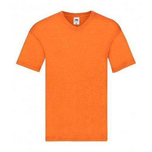 photo Wallpaper of Fruit of the Loom T-Shirt-Fruit Of The Loom Original Original V Ausschnitt T Shirt (L) (Orange)-Orange