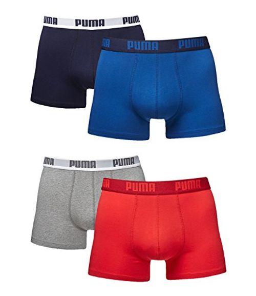 photo Wallpaper of Puma-Puma Herren Boxer Basic Unterhosen 4er Pack In Verschiedenen Farben 521015001-true blue (420)/red-grey (072)