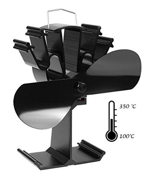 photo Wallpaper of Mitsuru®-Mitsuru® Ofenventilator Ohne Strom Für Holzofen Kamin, 2 Blätter (schwarz)-