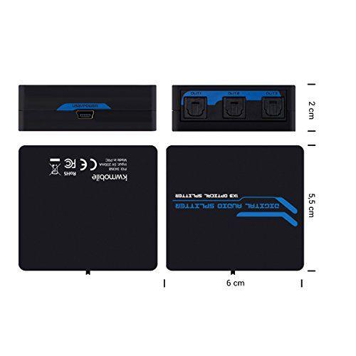 photo Wallpaper of kwmobile-Kwmobile Digital Audio Splitter Verteiler   3 Facher Umschalter Für Optische SPDIF-Schwarz