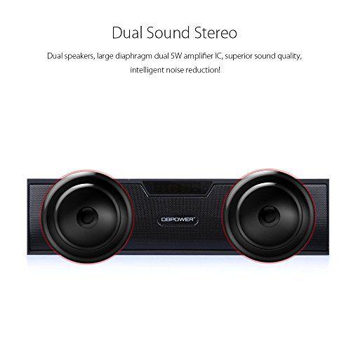 photo Wallpaper of DBPOWER-Bluetooth Stereo Lautsprecher, BX 100 LED Anzeige Tragbare Multifunktions Drahtlose Wecker Lautsprecher,-schwarz