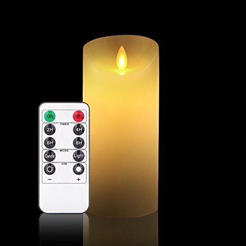 photo Wallpaper of Antizer-LED Kerzen, Flammenlose Kerzen Dekorations Kerzen Säulen (15,2 Cm,je Ø 8cm). Realistisch Flackernde LED-ivory