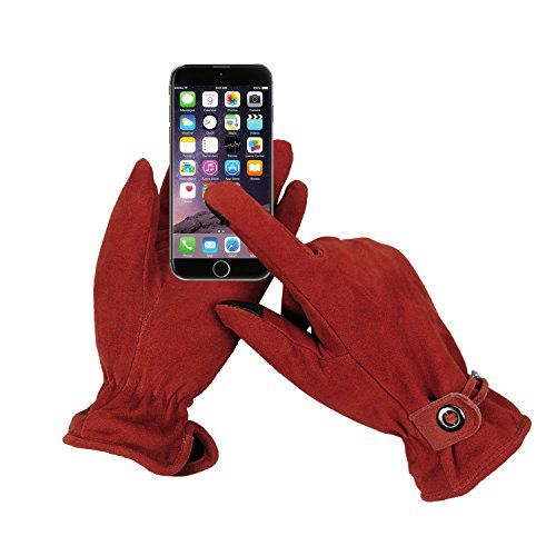photo Wallpaper of OZERO-OZERO Hirschleder Handschuhe Damen Winter Warm Samt Gefüttert Touchscreen Handchuhe-Rot