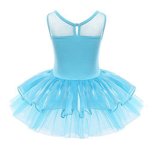 photo Wallpaper of iEFiEL-IEFiEL Mädchen Kleid Ballettkleid Kinder Ballett Trikot Ballettanzug Mit Tütü Röckchen Pailletten Kleid In-Blau