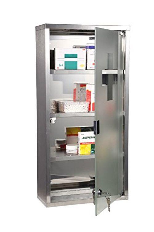 photo Wallpaper of Homcom-Botiquin Medicina 60x30x12cm Botiquín Acero Inoxidable Gabinete De Auxilios-Plateado