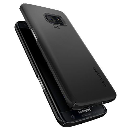 photo Wallpaper of Spigen-Samsung Galaxy S7 Edge Hülle, Spigen® [Thin Fit] Passgenaues [Schwarz] Premium-Einfarbig