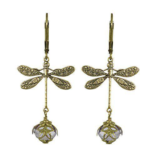 photo Wallpaper of NoMonet-NoMonet Damenhandgemalte Viktorianischen Ohrringe   Libelle Daze In Gold Und-Gold und Lavendel