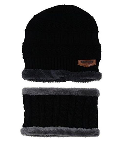 photo Wallpaper of ZZLAY-ZZLAY Kinder Winter Dicke Beanie Hut Schal Set Slouchy Warmen Schnee Knit Skull Cap-Schwarz