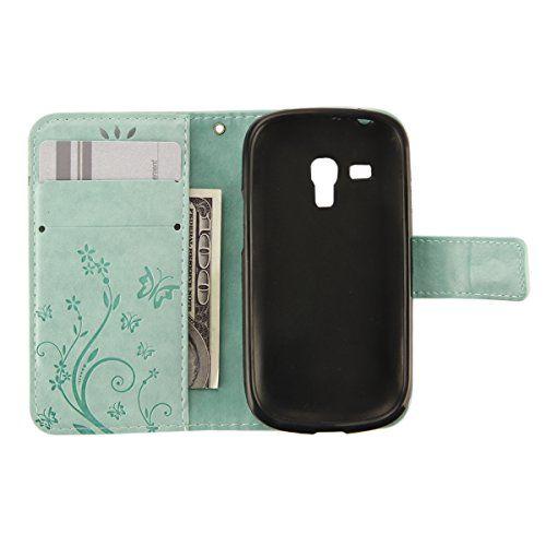 photo Wallpaper of ikasus-Galaxy S3 Mini Hülle,Galaxy S3 Mini Lederhülle,Galaxy S3 Mini Leder Wallet Tasche Brieftasche Schutzhülle,ikasus®-Klein Schmetterling:grün