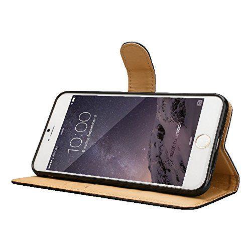 photo Wallpaper of d&a-IPhone 6Fall IPhone 6S Schutzhülle IPhone 6Plus, Mit Kreditkartenfächern–Weiches Leder Klappetui Mit Magnetverschluss–für-braun