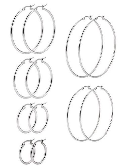 photo Wallpaper of Mudder-6 Paare Edelstahl Ring Ohrringe Set Ohr Hoop Rund Ohr Ringe Set,-
