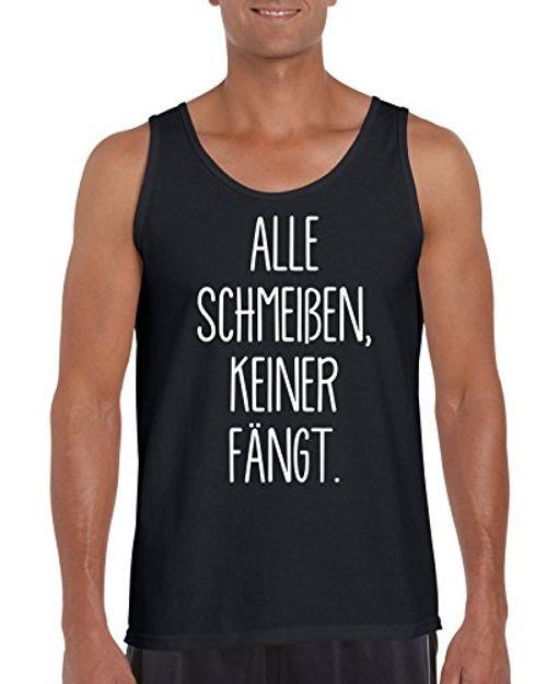 photo Wallpaper of TRVPPY-TRVPPY Herren Tank Top Shirt Modell Alle Schmeißen, Keiner Fängt, Grau, S-Schwarz