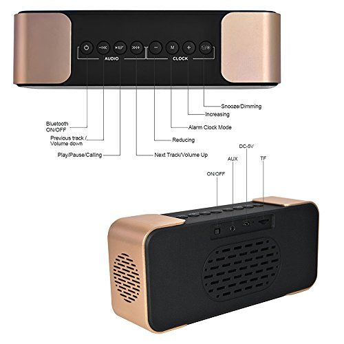 photo Wallpaper of Daxstar-Bluetooth Wecker Radio Bluetooth Lautsprecher Portable Kabelloser Lautsprecher Treiber Mit Eingebauten-Gold