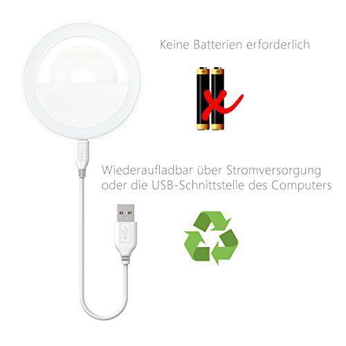 photo Wallpaper of MyGadget-MyGadget Handy Selfie Licht   3 Level Ringlicht USB Aufladbar-Weiß