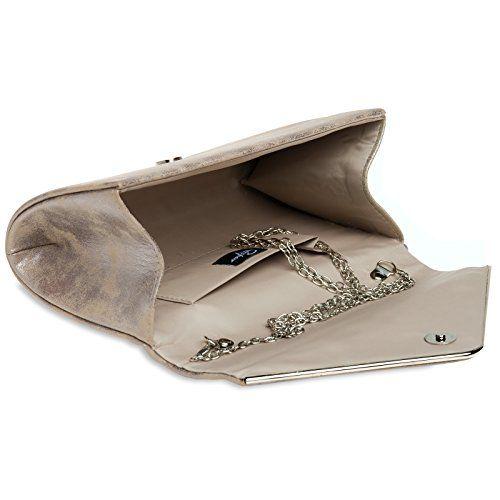 photo Wallpaper of CASPAR Fashion-CASPAR TA349 Damen Elegante Envelope Clutch Tasche / Abendtasche Mit Langer Kette, Farbe:taupe;Größe:One Size-Taupe