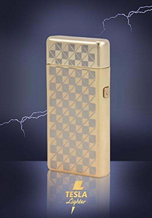 photo Wallpaper of TESLA Lighter-TESLA Lighter T05 | Lichtbogen Feuerzeug, Plasma Double Arc, Elektronisch Wiederaufladbar, Aufladbar-Gold-kariert