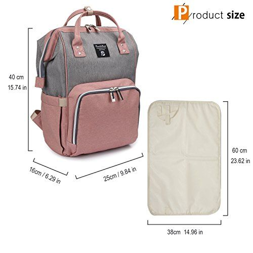 photo Wallpaper of Pomelo Best-Mochilas Para Pañales Mamá Tela Oxford Impermeable Bolsa De Pañales-Rosa y gris