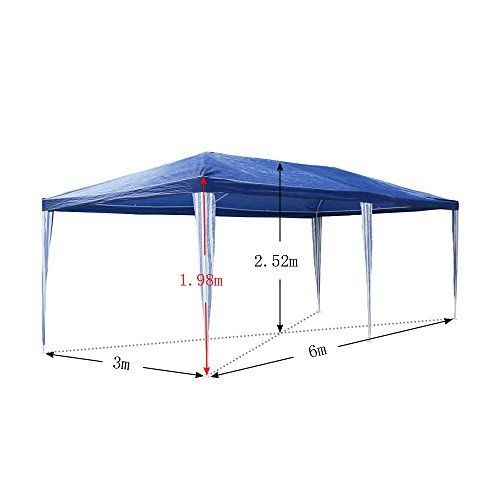 photo Wallpaper of huigou-HG® Partyzelt Festzelte 3x6m Blau Camping Vereinszelt Strand Stahlkonstruktion Mit Extra-Blau