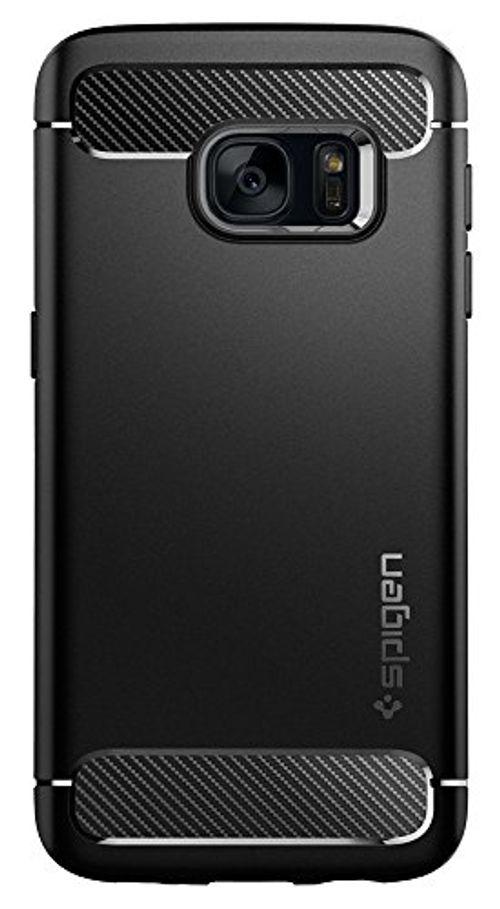 photo Wallpaper of Spigen-Samsung Galaxy S7 Hülle, Spigen® [Rugged Armor] Elastisch [Schwarz] Ultimative Schutz-Einfarbig