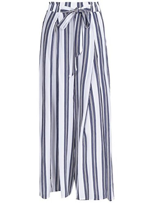 photo Wallpaper of Missy Chilli-Missy Chilli Damen Hose High Waist Split Streifen Trousers Pants Mit-Stripe2