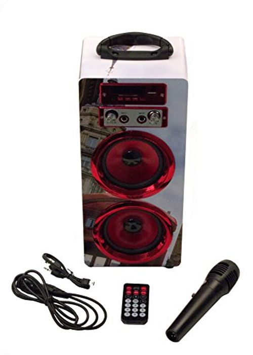 photo Wallpaper of P & B Wholesalers-Bluetooth Lautsprecher Mit Mikrofon / Karaoke Radio USB SD AUX-Rot-BigBen