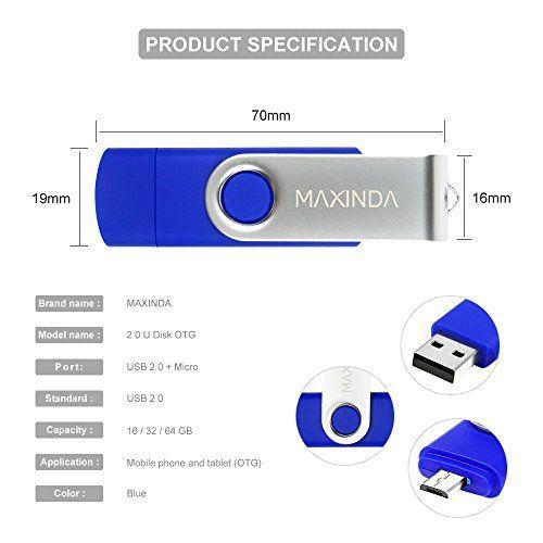 photo Wallpaper of MaXinDa-MaXinDa 16GB OTG Micro USB 2.0 Memory Stick USB Flash Drive Für-Blue
