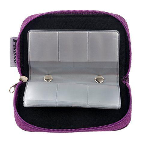 photo Wallpaper of Foxnovo-Foxnovo Tragbar Case Schutzbox Schutztasche Kartentasche Tasche Mit Reißverschluss Für 22 SD SDHC MMC-Viollet