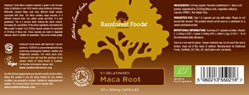 photo Wallpaper of Rainforest Foods-Rainforest Foods Organic Gelatinised Maca Root 5:1 (2500mg Equivalent) Capsules,-