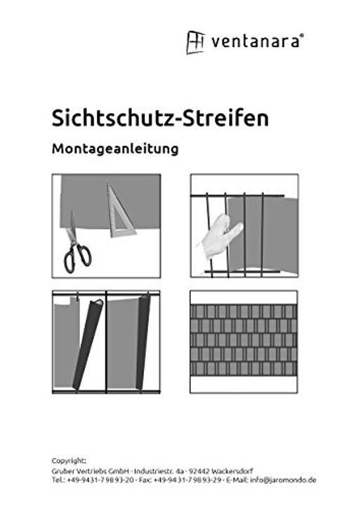 photo Wallpaper of Ventanara-VENTANARA® Sichtschutzstreifen Rattan 19cm X 25m Inkl. 25 Befestigungsclips Zaun Sichtschutz Streifen-Grau