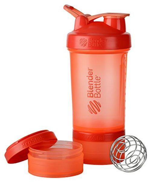 photo Wallpaper of BlenderBottle-BlenderBottle Prostak Protein Shaker/Diät Shaker (650ml, Skaliert Bis 450ml, Mit 2 Container 150ml &-Coral