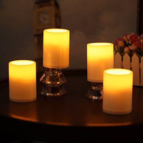 photo Wallpaper of Give U-4 Pack Outdoor Plastik Kerzen, Batterie Betriebene Flammenlose Geführte Kerzen Lichter Mit Timer Für-Elfenbeinfarben
