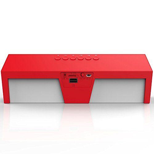 photo Wallpaper of arVin-Bluetooth Lautsprecher, Megadream® Soundbar PC Lautsprecher Portable Wireless Speaker Stereo Musik Box Mit Bass-Rot mit Weiß
