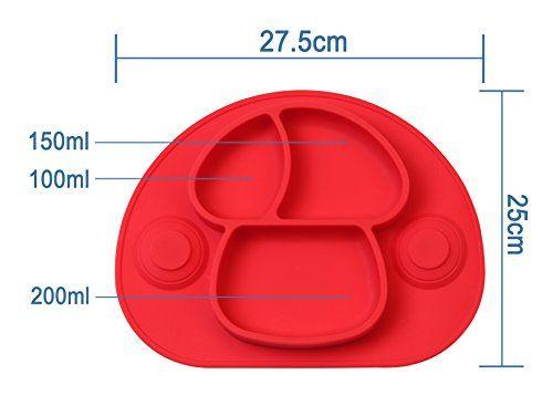 photo Wallpaper of DEBAIJIA-DEBAIJIA Bebé Niños Mantel Individual Plato De Silicona Con Fuerte Succión Ventosa Divididas-Seta-Rojo