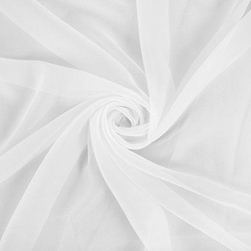 photo Wallpaper of Deconovo-Deconovo Vorhang Transparent Gardinen Transparent Schlaufenschal Transparent 175x140 Cm Weiß 2er-Weiß 2er Set
