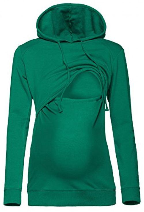 photo Wallpaper of Happy Mama Boutique-Happy Mama. Damen Kapuzenpullover Stillzeit Top Zweilagiges Sweatshirt. 272p (Flaschengrün, EU 38, M)-Flaschengrün