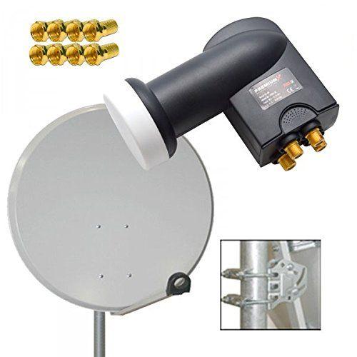 photo Wallpaper of PremiumX-PremiumX Digital SAT Anlage 60 Cm ALU Schüssel Spiegel Antenne Hellgrau + PremiumX Quad-