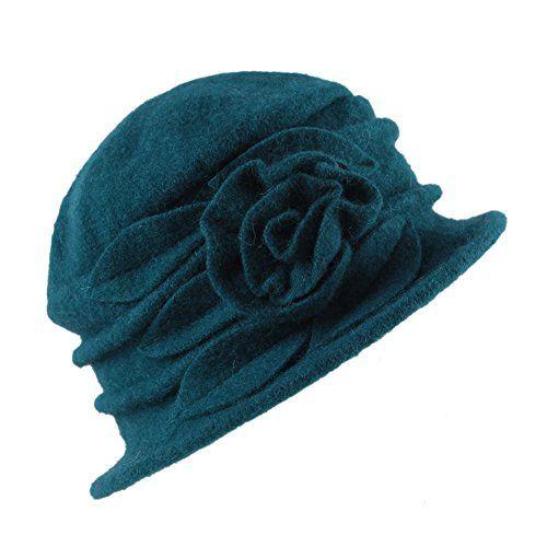 photo Wallpaper of West See-West See Damen Vintage Wolle Cloche Bucket Hut Beret Topfhut Mit Blumendetail-Blau