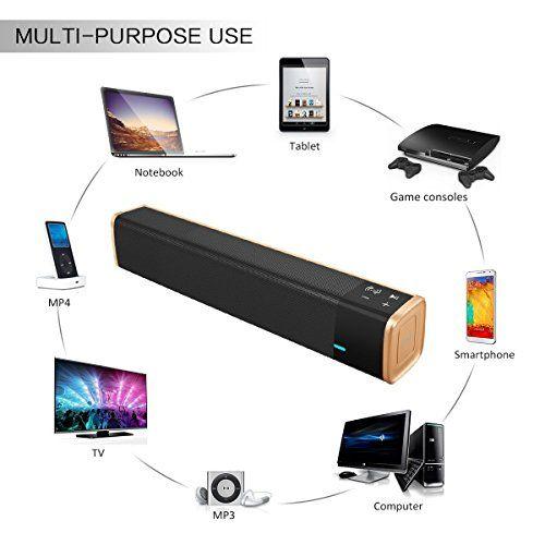 photo Wallpaper of ELEGIANT-Mobiler Lautsprecher, ELEGIANT 20W Bluetooth 4.1 Wireless Dual Lautsprecher Soundbar HIFI-Golden